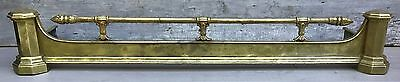 "Antique English Solid Brass 52"" Fire Fender Fireplace Surround w/ Cross Bar 1900"