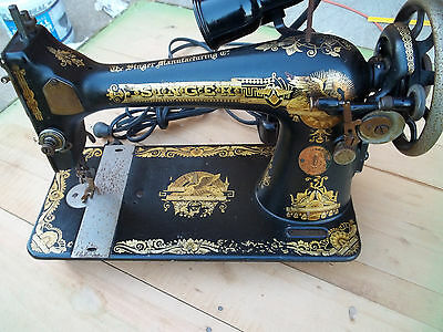 Motorized Treadle Singer Sewing Machine, Ornate, Runs,Parts or Use, Free S/H