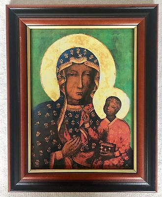Black Madonna Icon - Our Lady Of  Czestochowa - Wood Framed Picture / Print