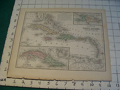Vintage Original 1866 Mitchell Map: WEST INDIES & CUBA map # 21 aprox 10 X 12""