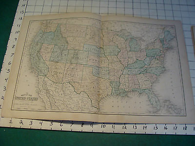 Vintage Original 1866 Mitchell Map: UNITED STATES  map # 7 aprox 12 x 19""