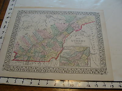 vintage map: 1874 Mitchell Map of QUEBEC IN COUNTIES