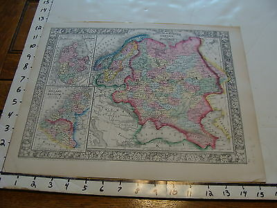 vintage map: 1860 Mitchell Map of RUSSIA, EUROPE, SWEDEN, & NORWAY