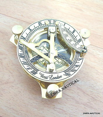 Solid 3'' Brass Sundial Compass Nautical Collectible Replica