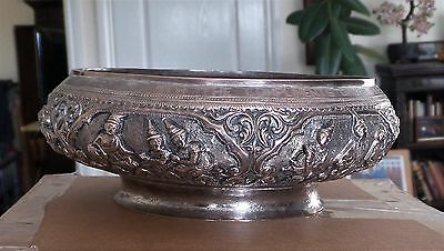 Burmese embossed silver metal bowl inscribed from the Ministry of Defence