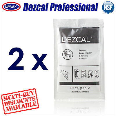 2 x Urnex DEZCAL Espresso Coffee Machine Descaler 28g Decalcifier Descale