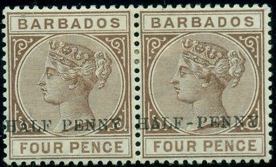 BARBADOS #69a, ½ p on 4p brown, NO HYPHEN & normal in pair, og, LH, VF