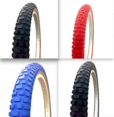 "Comp 2 Style 20"" x 1.75 & 2.125 Skinwall Tyre - Old School BMX - Red Blue Black"