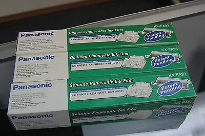 Panasonic Ink Film KX-FA93 Factory Sealed New - 3 Packages of 1 Roll