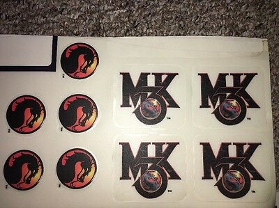 Set Of Mortal Kombat 3 MK3 Stickers Decals Arcade Graphics Original Midway