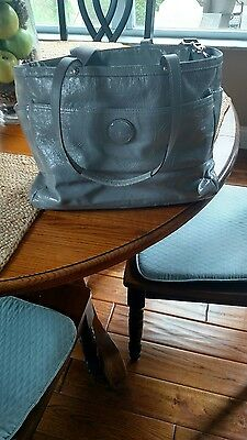 Coach Diaper Bag, Patent Leather, Gray