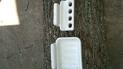 vintage white porcelain soap dish and toothbrush holder 2 piece wall mount