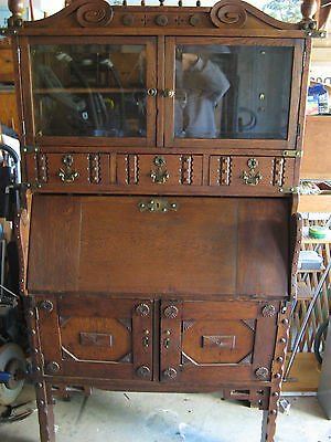 antique oak secretary desk display cabinet hutch furniture