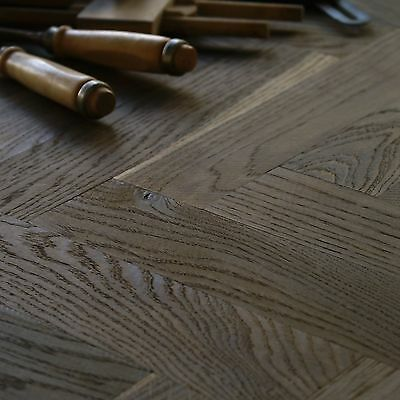 Smoked Oak Wood 12in Parquet Classique - Natural Grade Herringbone Fishbone HS27