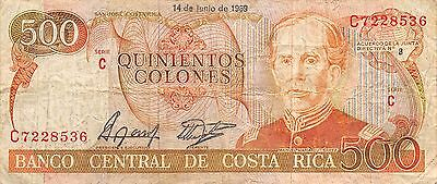 Costa Rica  500 Colones  14.6.1989  Series C circulated Banknote NS2R