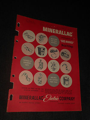 Vintage 1964 Minerallac Electric Co Metal Fittings And Parts Catalog Brochure