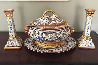 Holu Portugal Hand Painted Soup Tureen Platter Ladle And 2 Candlesticks