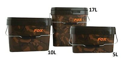 New Fox Camo Heavy Duty Square Bucket - 5L 10L 17L Carp Fishing Setup