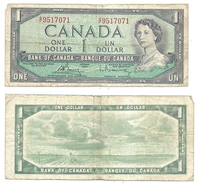 Canada 1 Dollar 1954 (1961-72) in (F) Condition Banknote P-75b