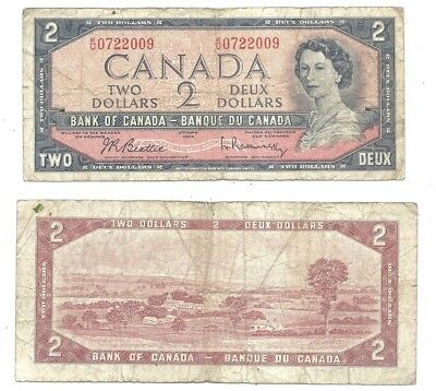 Canada 2 Dollars 1954 (1961-72) in (F) Condition Banknote P-76b