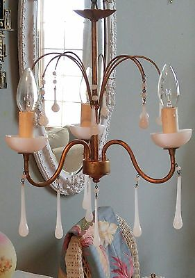 Old Petite White French Opaline Glass Chandelier Drops Macaroni Beads Bobeche