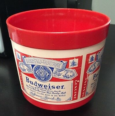 60s 70s Vintage BUDWEISER Red Plastic ICE BUCKET