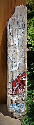"Vintage Driftwood painted Folk Art  24""x 4"" - Signed Hazel Beckwith - Fish house"