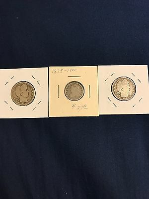 1835 Capped Bust Dime  - 1909, 1911 Barber Quarters - Old Coins - Silver