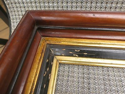 c1860 Excellent VICTORIAN EASTLAKE DEEPWELL Ebonized Gilded Stepped Antique Frme