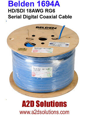 Belden 1694A - 1,000 feet - HD/SDI 18AWG RG6 HD Digital Coaxial Cable - BLUE