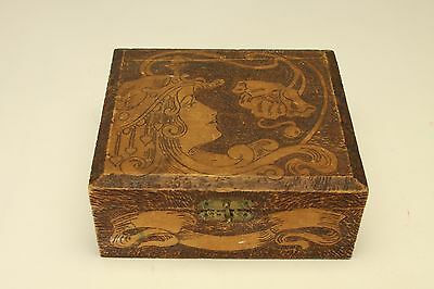 Vintage Wooden Storage/Jewelry Box, Bottom and top lid padded.