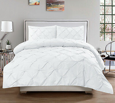Hudson 3 Piece Pinch Pleat Comforter Set Pintuck Oversized Bedding Solid White
