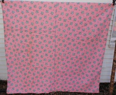 VINTAGE QUILT Pink Blue Floral FEEDSACKS Antique Primitive