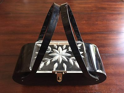 Vintage 50s Black Carved Lucite Box Purse Florida Handbag Made in Miami