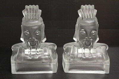 """Pair of Cathay Lu-Tung Bookends Imperial Glass Signed by Virginia B Evans ~ 7"""""""