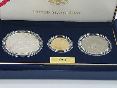 2001 US Capitol Visitor Center 3-Coin Commemorative Proof Set Box & COA - 5945