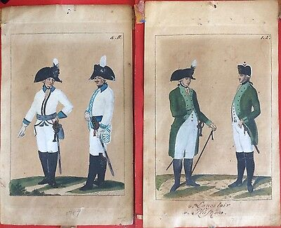 Pair of 18th c. French or Prussian Military Costume Watercolor Paintings, 1789