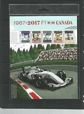 "New Issue   "" F1 In Canada   1967- 2017   Pane Of 5"