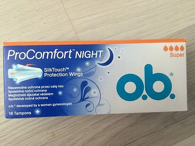 0.B. Tampons ProComfort Night Super 4 pack x16pcs SilkTouch Protection Wings New