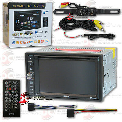 "Soundstorm Dd664B Car 6.2"" Lcd Dvd Cd Bluetooth Stereo Free Licenseplate Camera"