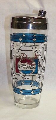 1973 Pepsi Pepsi Cola 75Th Anniversary Tiffany Style Advertising Cocktail Shaker