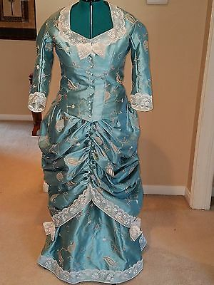 Victorian Bustle dress in aqua blue and ivory