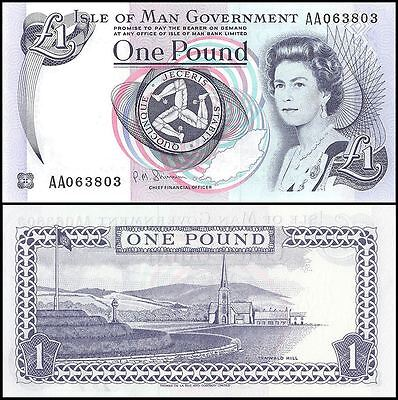 Isle of Man 1 Pound, 1983, P-40c, UNC, Queen Elizabeth II (QEII)