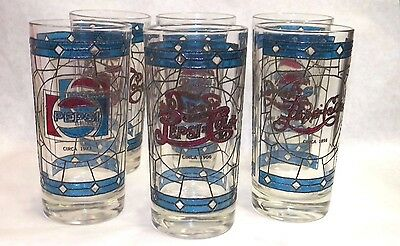 1973 Pepsi Pepsi Cola 75Th Anniversary Tiffany Style Advertising Tumblers