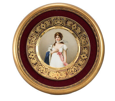 Royal Vienna Hand Painted Cabinet Plate of Queen Louise c.1900, Signed Wagner