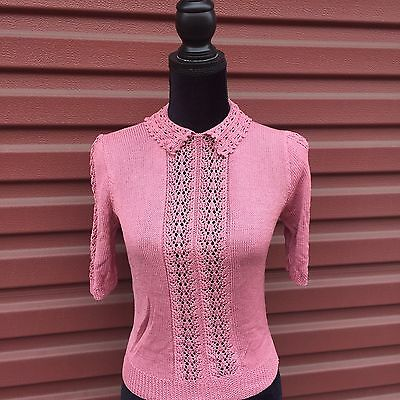 Neiman Marcus Vintage Rose Pink Silk Knit Hi-Collar Sweater Size Small