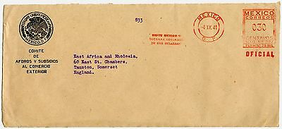 MEXICO 1941 OFFICIAL MAIL METER FRANKING + ENVELOPE to EAST AFRICA GAZETTE WW2