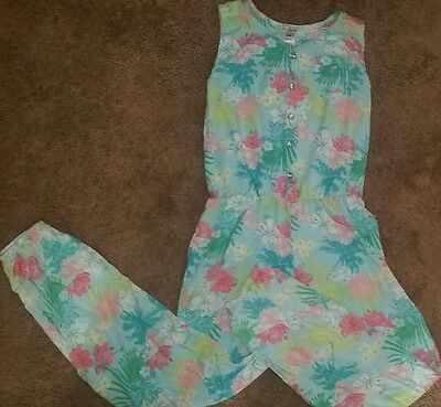 GUESS Girl's size 8/10 floral jumpsuit sleeveless long pants Floral Plams print