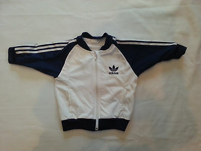 ADIDAS TODDLER  BOYS WARM-UP JACKET  SIZE 24 MONTHS Stripes Navy Blue & White