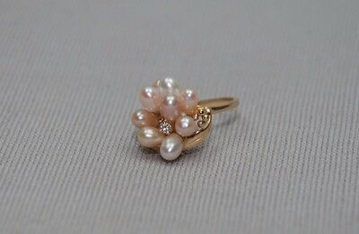 Estate 14K Yellow Gold Natural Freshwater Pearl Cluster Diamond Ring size 7.5